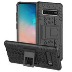 Dual Layer Rugged Tough Case & Stand for Samsung Galaxy S10 - Black